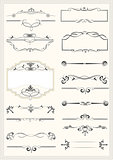 Calligraphic elements and frame vintage set. Vector illustration