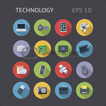 Flat Icons For Technology