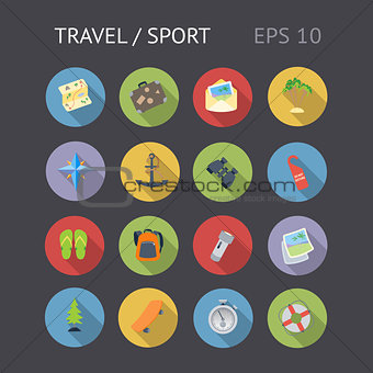 Flat Icons For Travel and Sport