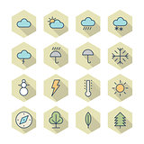 Thin Line Icons For Weather and Nature