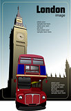 London double Decker  red bus on Big Ben background. Vector illu
