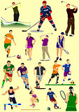 Few kinds of sport games. Football, Ice hockey, tennis, soccer,