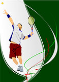 Man Tennis player poster. Colored Vector illustration for design
