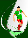 Soccer player poster. Vector illustration