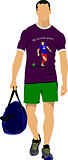 Young man with bag. Vector illustration