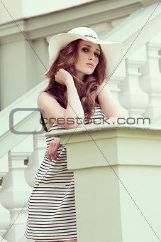 beauty girl in outdoor fashion shoot