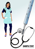 Medical nurse stethoscope and thermometer. Vector illustration