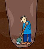 digging man cartoon illustration