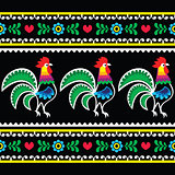 Polish folk art pattern with roosters on black - Wzory lowickie, Wycinanka