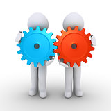 Two people with cogs as teamwork concept