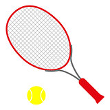 red tennis racket with yellow ball