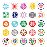 Colorful pixelated snowflakes, Christmas icons