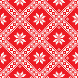 Seamless Ukrainian Slavic folk art red embroidery pattern
