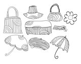 Sketch vector accessories set art illustration cute