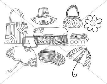 Sketch vector accessories set art illustration cute