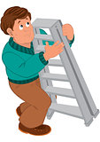 Cartoon man with brown hair in green sweater holding ladder
