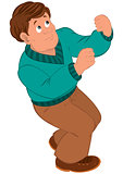 Cartoon man with brown hair in green sweater