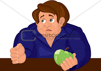 Cartoon sad man torso in blue top with apple