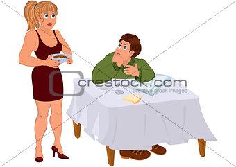 Cartoon wife serving dinner for husband