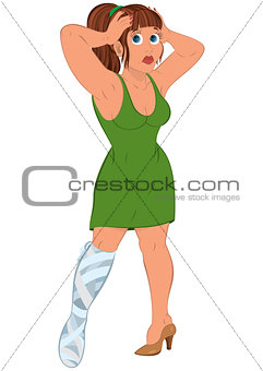 Cartoon woman in green dress with injured leg