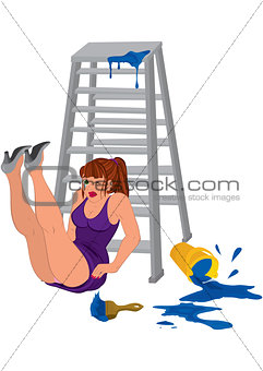 Cartoon woman in purple dress legs up near the ladder