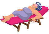 Cartoon woman in robe with eye mask on the beach chair