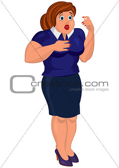 Cartoon young fat woman in blue top and skirt surprised