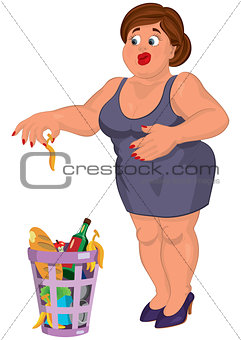 Cartoon young fat woman in gray dress disgusted near garbage can
