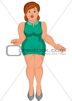 Cartoon young fat woman in green dress front view
