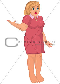 Cartoon young fat woman in pink dress barefoot one hand up