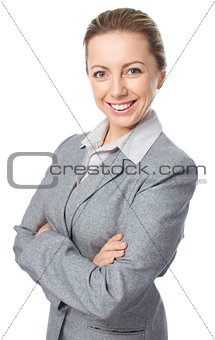 Business woman portrait, crossed arms