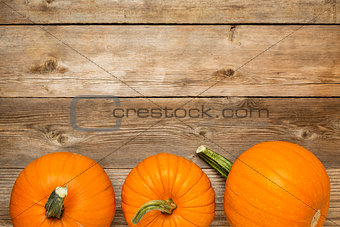 autumn pumpkin on rustic wood