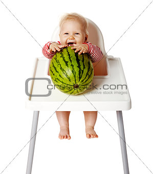 Baby Trying To Eat Watermelon