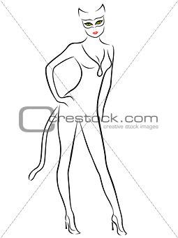 Cat Woman black contour with mask
