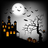Halloween haunted castle with bats and tree background template