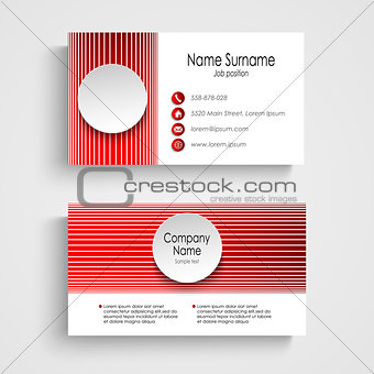 Modern red round business card template