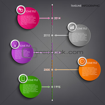 Time line info graphic colored round modern template