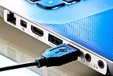 macro shot of usb plug near laptop