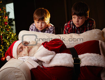 Santa sleeping