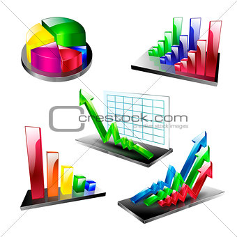 business plan symbol element set icons arrow diagram