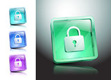 glass icons set green lock security