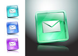 glass icons set green messaging e-mail