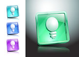 glass icons set light ideas lamp vector