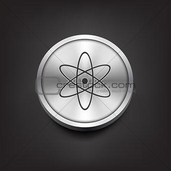 Molecule icon on silver button