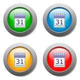 Calendar organaizer icon on buttons set