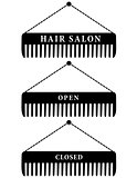set of hair salon combs, open and closed