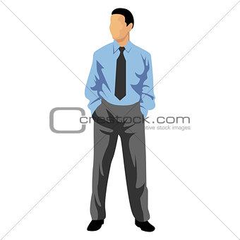 Business man in blue shirt.