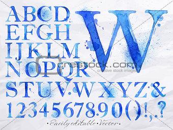 Alphabet watercolor blue