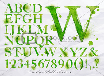 Alphabet watercolor green