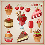 Set of sweets with cherry